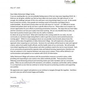 Letter from David Parrett
