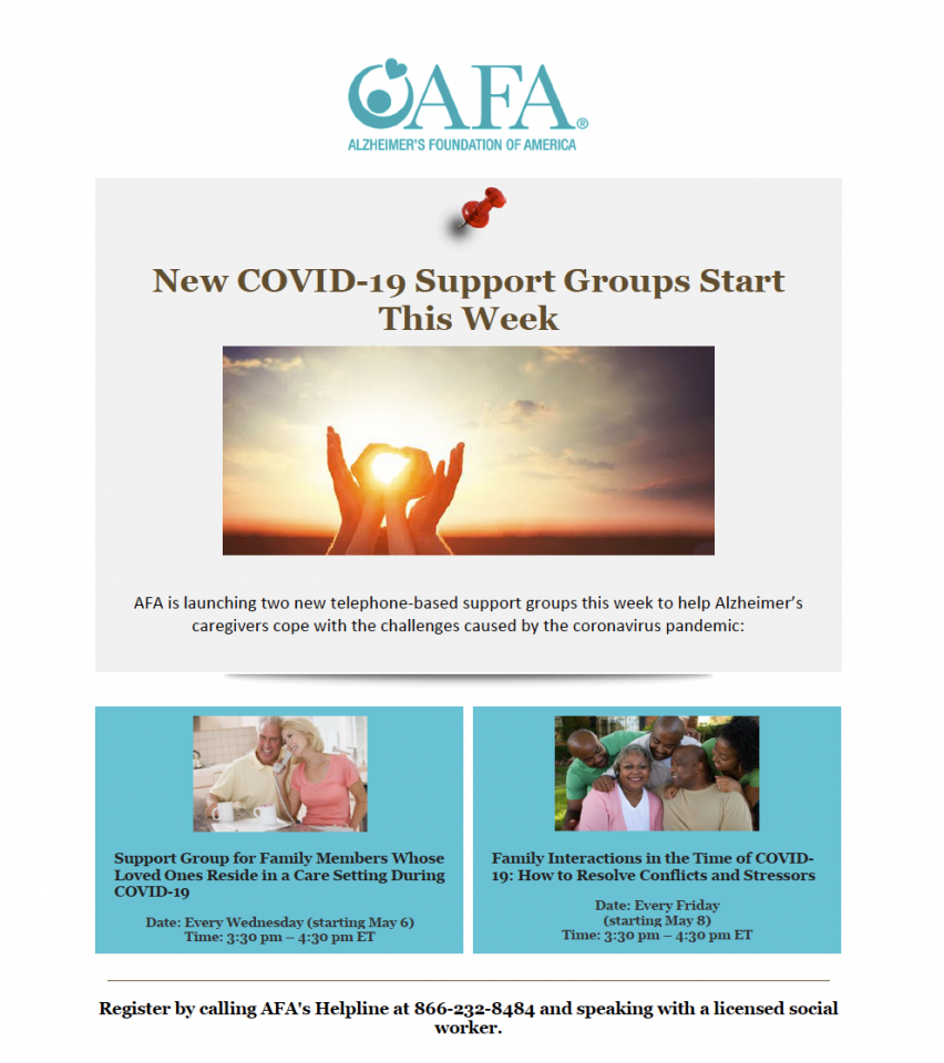 The AFA launches Covid-19 Support Groups